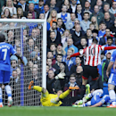 Sunderland's Connor Wickham, no. 10, celebrates scoring against Chelsea during their English Premier League soccer match at the Stamford Bridge ground in London, Saturday April 19, 2014