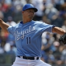 Kansas City Royals starting pitcher Jeremy Guthrie (11) delivers to a Los Angeles Angels batter during the first inning of the MLB  American League baseball game at Kauffman Stadium in Kansas City, Mo., Saturday, May 25, 2013. (AP Photo/Orlin Wagner)