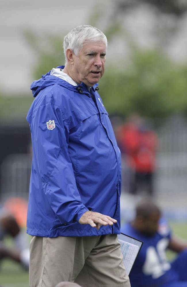 New York Giants tight ends coach Mike Pope gestures during a practice at the New York Giants NFL football training camp in Albany, N.Y., Saturday, July 28, 2012
