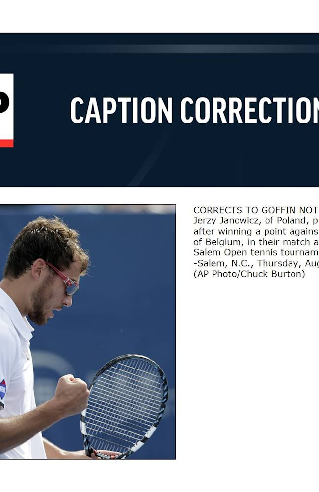 CORRECTS TO GOFFIN NOT GOFFEN  - Jerzy Janowicz, of Poland, pumps his fist after winning a point against David Goffin, of Belgium, in their match at the Winston-Salem Open tennis tournament in Winston-Salem, N.C., Thursday, Aug. 21, 2014
