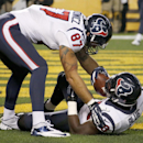 Houston Texans running back Alfred Blue (28) is greeted by tight end C.J. Fiedorowicz (87) after scoring a touchdown in the first quarter of the NFL football game against the Pittsburgh Steelers, Monday, Oct. 20, 2014 in Pittsburgh. (AP Photo/Gene Puskar)