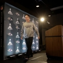 Baltimore Ravens head coach John Harbaugh walks off stage after speaking at an NFL Super Bowl XLVII football news conference on Wednesday, Jan. 30, 2013, in New Orleans. The Ravens face the San Francisco 49ers in Super Bowl XLVII on Sunday, Feb. 3. (AP Photo/Patrick Semansky)