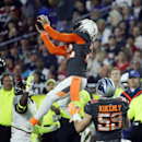 San Diego Chargers' Eric Weddle attempts to intercept a pass intended for Atlanta Falcons' Devin Hester but dropped the ball during the first half of the NFL Football Pro Bowl Sunday, Jan. 25, 2015, in Glendale, Ariz The Associated Press