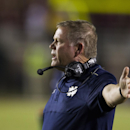 Notre Dame head coach Brian Kelly objects to a call in the first half of an NCAA college football game against Florida State in Tallahassee, Fla., Saturday, Oct. 18, 2014. AP Photo/Mark Wallheiser)