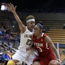Utah's Iwalani Rodrigues, right, drives the ball against California's Layshia Clarendon (23) during the first half of an NCAA college basketball game Sunday, Jan. 27, 2013, in Berkeley, Calif. (AP Photo/Ben Margot)