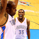 Kevin Durant #35 of the Oklahoma City Thunder celebrates a dunk by Caron Butler #2 against the Memphis Grizzlies in Game Seven of the Western Conference Quarterfinals during the 2014 NBA Playoffs at Chesapeake Energy Arena on May 3, 2014 in Oklahoma City, Oklahoma. (Photo by Ronald Martinez/Getty Images)