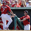 St. Louis Cardinals' Matt Holliday, left, is congratulated by manager Mike Matheny as he leaves the game after hitting an RBI double during the third inning of an exhibition spring training baseball game Sunday, March 2, 2014, in Jupiter, Fla The Associat