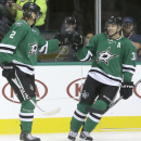 Dallas Stars center Vernon Fiddler (38) celebrates scoring a goal with teammate Jyrki Jokipakka (2) during the first period of an NHL pre-season hockey game against the St. Louis Blues, Monday, Sept. 22, 2014, in Dallas The Associated Press
