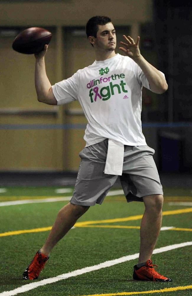 Notre Dame quarterback Tommy Rees throws during Notre Dame pro day for NFL football representatives Thursday, March 20, 2014, in South Bend, Ind