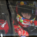 Kyle Busch waits in his car before practice for Sunday's NASCAR Coca-Cola 600 Sprint Cup series auto race at Charlotte Motor Speedway in Concord, N.C., Thursday, May 21, 2015. (AP Photo/Mike McCarn)