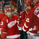 Detroit Red Wings center Pavel Datsyuk (13) celebrates his goal against the Dallas Stars in the first period during an NHL hockey game in Detroit Thursday, Dec. 4, 2014 The Associated Press