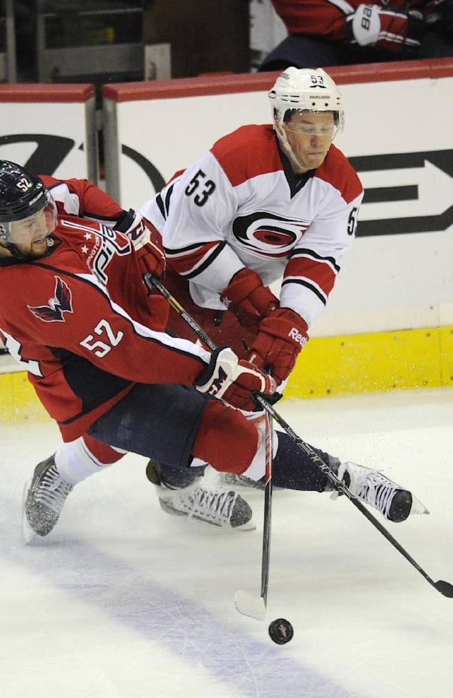 Washington Capitals defenseman Mike Green (52) battles for the puck against Carolina Hurricanes center Jeff Skinner (53) during the third period an NHL hockey game, Thursday, Oct. 10, 2013, in Washington. The Hurricanes won 3-2