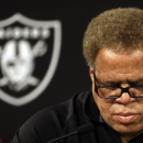 Oakland Raiders general manager Reggie McKenzie takes questions from reporters during a media conference Tuesday, Sept. 30, 2014, in Alameda, Calif. The Oakland Raiders named Tony Sparano as their interim head coach The Associated Press