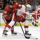 Detroit Red Wings' Danny DeKeyser (65), right, controls the puck against Chicago Blackhawks' Patrick Kane (88) during the second period of an NHL hockey game in Chicago, Sunday, March 16, 2014. (AP Photo/Nam Y. Huh)