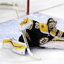 Boston Bruins goalie Tuukka Rask stretches to make a save against the New York Rangers during the third period of an NHL hockey game in Boston, Thursday, Jan. 15, 2015. Rask didn't allow a goal as the Bruins shut out the Rangers 3-0 The Associated Press