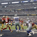 San Francisco 49ers inside linebacker Patrick Willis (52) intercepts a pass intended for Dallas Cowboys tight end Jason Witten (82) while 49ers strong safety Antoine Bethea (41) applies pressure in the end zone during first half of an NFL football game,