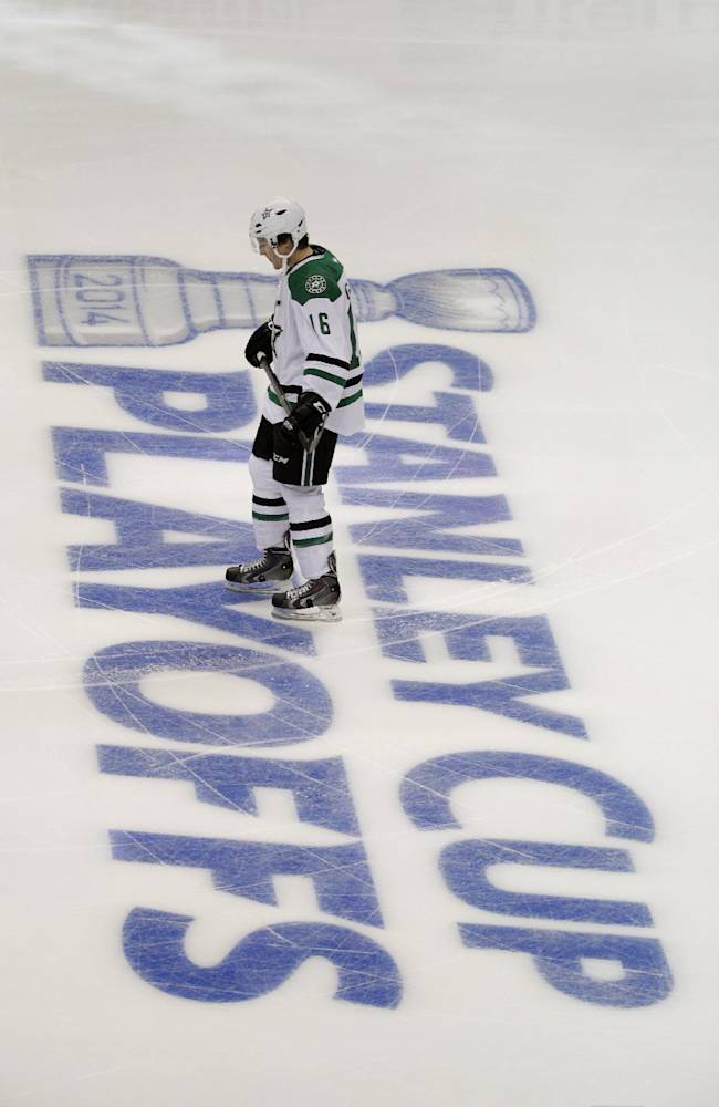 Dallas Stars' Ryan Garbutt skates on the ice before the start of Game 1 of the first-round NHL hockey Stanley Cup playoff series against the Anaheim Ducks on Wednesday, April 16, 2014, in Anaheim, Calif