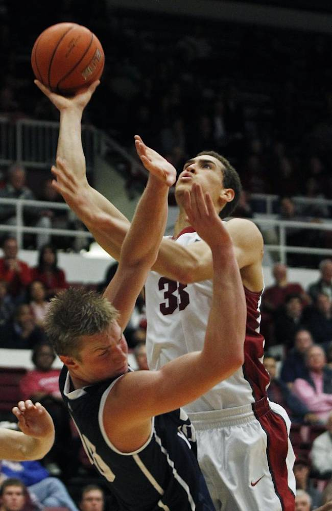 Stanford's Dwight Powell (33) shoots as Brigham Young's Eric Mika falls during the first half of an NCAA college basketball game, Monday, Nov. 11, 2013, in Stanford, Calif