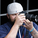 Detroit Tigers relief pitcher Joba Chamberlain takes a picture before an exhibition baseball game against the Washington Nationals at Nationals Park Saturday, March 29, 2014, in Washington The Associated Press