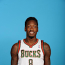ST. FRANCIS, WI - SEPTEMBER 30: Larry Sanders #8 of the Milwaukee Bucks poses for a portrait during media day on September 30, 2013 at the Bucks Training Center in St. Francis, Wisconsin. (Photo by Benny Sieu/NBAE via Getty Images)