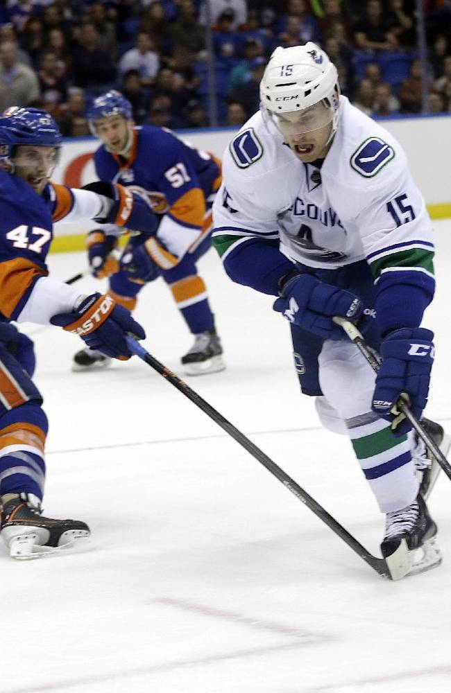 Vancouver Canucks' Brad Richardson (15) skates past New York Islanders' Andrew MacDonald (47) to score the game winning goal during the overtime period of an NHL hockey game Tuesday, Oct. 22, 2013 in Uniondale, N.Y. The Canucks won the game 5-4