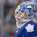 Toronto Maple Leafs goaltender Jonathan Bernier stares up the ice during the last seconds of the Leafs loss to the Pittsburgh Penguins in an NHL hockey game, Saturday, Oct. 11, 2014 in Toronto The Associated Press