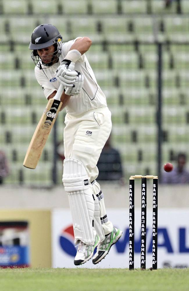 New Zealand's Ross Taylor bats during the second day of the second cricket test match against Bangladesh in Dhaka, Bangladesh, Tuesday, Oct. 22, 2013