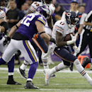 Chicago Bears wide receiver Alshon Jeffery (17) runs from Minnesota Vikings outside linebacker Chad Greenway, left, after making a reception during the second half of an NFL football game, Sunday, Dec. 1, 2013, in Minneapolis The Associated Press