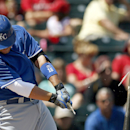 Kansas City Royals' Billy Butler shatters his bat as he hits the ball during the first inning of a spring training baseball game against the Los Angeles Angels on Friday, March 21, 2014, in Tempe, Ariz The Associated Press