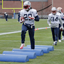 New England Patriots running back LeGarrette Blout (29) runs a drill during an NFL football practice in Foxborough, Mass., Wednesday, Dec. 17, 2014 The Associated Press