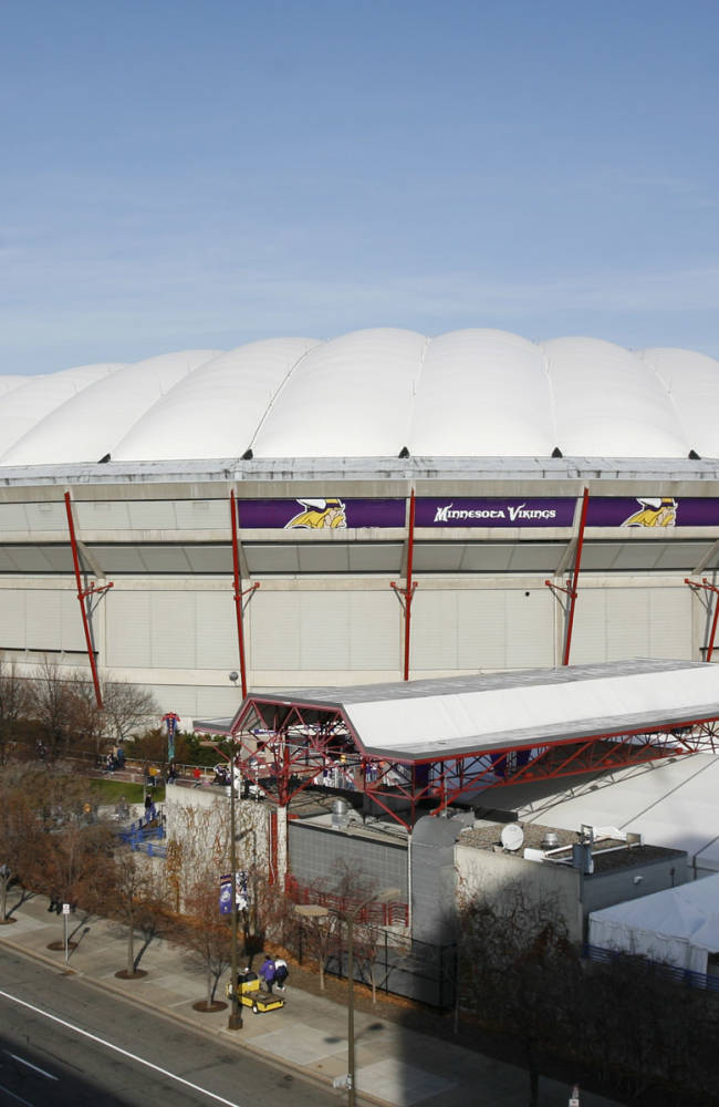 File - In this Nov. 15, 2009  file photo is Minneapolis's Metrodome that will be razed to make way for the new Vikings stadium after the team finishes its 2013 season. Ahead of its demolition, historians and others are sizing up what should be saved from the puffy-topped stadium that has hosted monster truck rallies, the Final Four and the Super Bowl