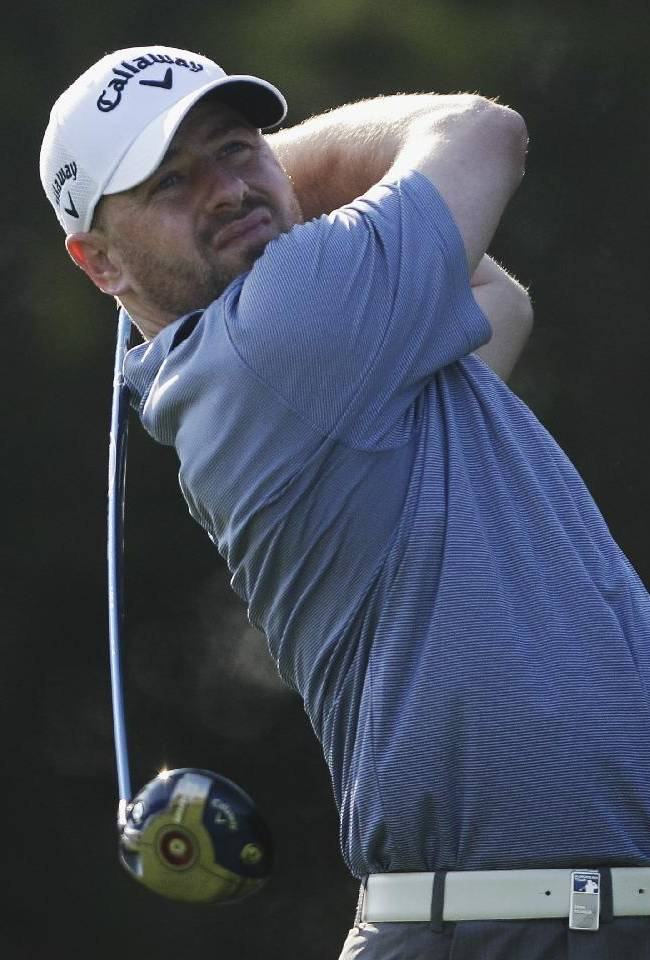Craig Lee of Scotland tees off on the 5th  hole during the 2nd round of the Abu Dhabi HSBC Golf Championship in Abu Dhabi, United Arab Emirates, Friday, Jan. 17, 2014
