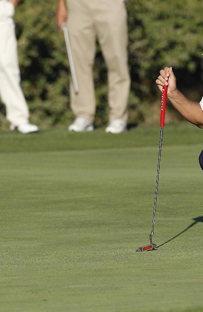 Brooks Koepka lines up a putt on the 18th hole during the third round of the Frys.com Open golf tournament on Saturday, Oct. 12, 2013, in San Martin, Calif
