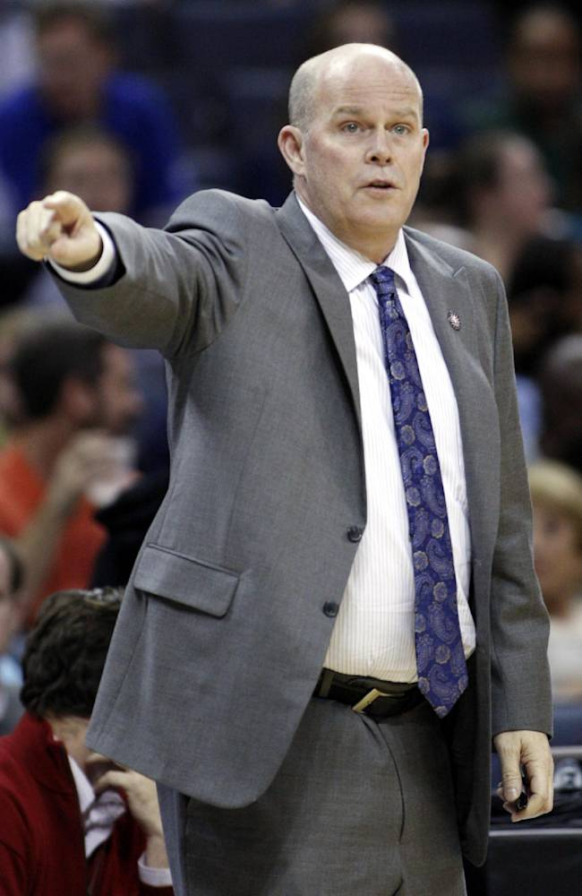 Charlotte Bobcats coach Steve Clifford directs his team as they play the Atlanta Hawks in the first half of an NBA basketball game in Charlotte, N.C., Monday, Nov. 11, 2013. Atlanta won 103-94
