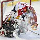 Ottawa Senators center Jean-Gabriel Pageau, bottom, crashes into Florida Panthers goalie Scott Clemmensen during first-period NHL hockey game action on Thursday, Dec. 19, 2013, in Ottawa, Ontario. (AP Photo/The Canadian Press, Adrian Wyld)