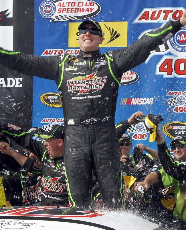Kyle Busch wins again at Fontana in wild finish