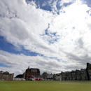 A view of the clubhouse, left, ahead of the Women's British Open golf championship on the Old Course at St Andrews, Scotland, Wednesday July 31, 2013. (AP Photo/Scott Heppell)