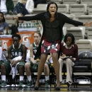 FILE - In this Nov. 15, 2012 file photo, UAB head coach Audra Smith yells to her players in the first half of an NCAA college basketball game against Vanderbilt in Nashville, Tenn. Clemson has hired UAB's Audra Smith as its new women's basketball coach. A person familiar with the situation spoke to The Associated Press Monday, April 8, 2013, on condition of anonymity because Clemson has not officially announced Smith's hiring. (AP Photo/Mark Humphrey, File)