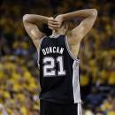 San Antonio Spurs power forward Tim Duncan (21) reacts to a call in the second half against the Golden State Warriors in Game 6 of a Western Conference semifinal NBA basketball playoff series in Oakland, Calif., Thursday, May 16, 2013. (AP Photo/Marcio Jose Sanchez)