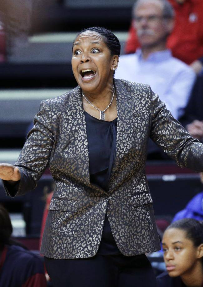 Temple coach Tonya Cardoz reacts to play during the first half of an NCAA college basketball game against Rutgers on Wednesday, Feb. 26, 2014, in Piscataway, N.J. Rutgers won 67-58