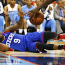 Philadelphia 76ers guard James Anderson (9) reacts as he looses control of the ball against the Charlotte Bobcats during the second half of an NBA basketball game in Charlotte, N.C., Saturday, April 12, 2014 The Associated Press