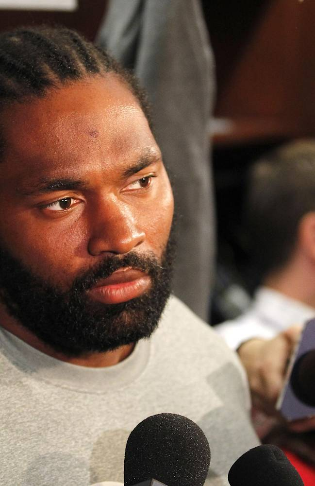 New England Patriots linebacker Jerod Mayo speaks with the media in the locker room of Gillette Stadium in Foxborough, Mass., Tuesday, Sept. 10, 2013. The Patriots play the New York Jets on Thursday in Foxborough