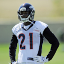 Denver Broncos cornerback Aqib Talib rests between drills at NFL football practice in Englewood, Colo., on Monday, Aug. 25, 2014 The Associated Press