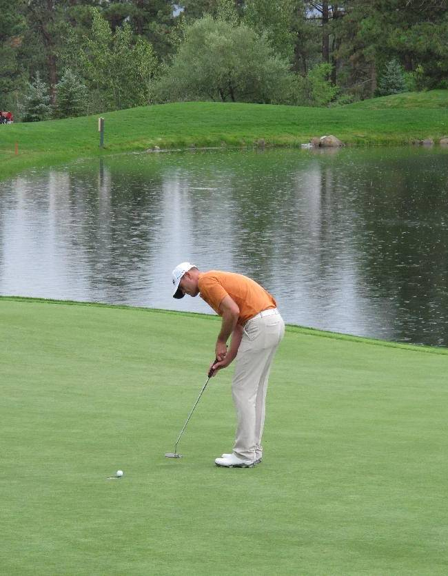 Brendan Steele watches his putt go in on the 18th hole at Montreux Golf & Country Club in Reno during a rainy pro-am Wednesday, July 30, 2014, in preparation for the PGA Tour's Barracuda Championship, formerly known as the Reno-Tahoe Open