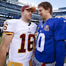 Washington Redskins quarterback Colt McCoy (16) greets New York Giants quarterback Eli Manning (10) after the Giants won 24-13 in an NFL football game, Sunday, Dec. 14, 2014, in East Rutherford, N.J The Associated Press