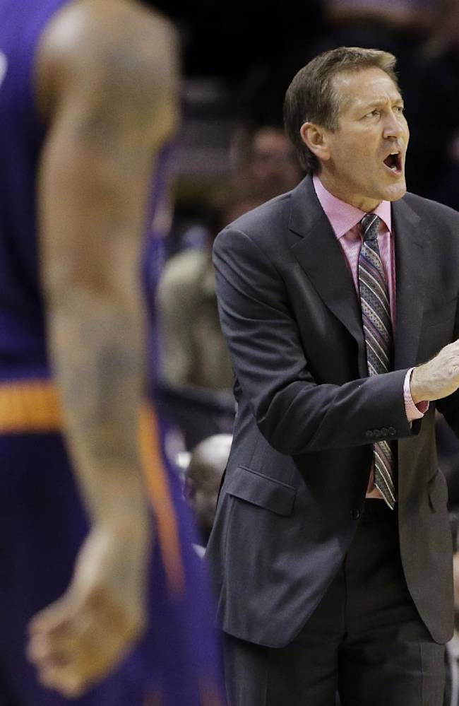 Phoenix Suns coach Jeff Hornacek talks to his players during the second half of an NBA basketball game against the San Antonio Spurs, Wednesday, Nov. 6, 2013, in San Antonio. San Antonio won 99-96
