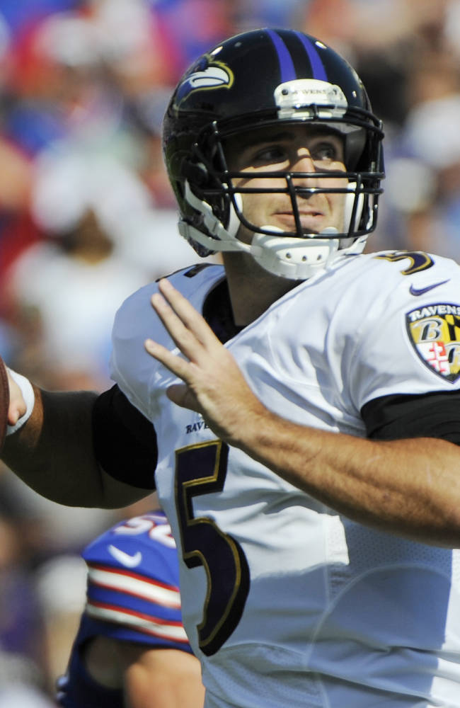 Baltimore Ravens quarterback Joe Flacco (5) passes against the Buffalo Bills during the first half of an NFL football game on Sunday, Sept. 29, 2013, in Orchard Park, N.Y