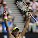Madison Keys of the U.S. celebrates after defeating her compatriot Venus Williams in their quarterfinal match at the Australian Open tennis championship in Melbourne, Australia, Wednesday, Jan. 28, 2015. (AP Photo/Bernat Armangue)