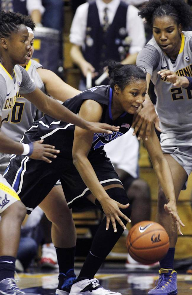 Duke's Richa Jackson, center,  drives for the basket through California's Afure Jemerigbe, left, and Reshanda Gray during the second half of an NCAA college basketball game, Sunday, Nov. 10, 2013 in Berkeley, Calif