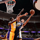 ANAHEIM, CA - OCTOBER 16: Rudy Gobert #27 of the Utah Jazz shoots against the Los Angeles Lakers at Honda Center on October 16, 2014 in Anaheim, California. (Photo by Andrew D. Bernstein/NBAE via Getty Images)